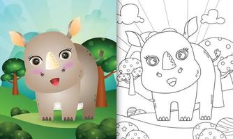 coloring book for kids with a cute rhino character illustration vector