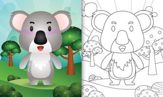 coloring book for kids with a cute koala character illustration vector