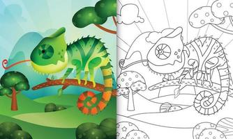 libro para colorear para niños con una linda ilustración de personaje camaleón vector