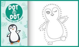 conecta el juego de niños de puntos y la página para colorear con una linda ilustración de personaje de pingüino vector