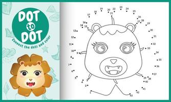 Conecte el juego de niños de puntos y la página para colorear con una ilustración de personaje de león de cara linda vector