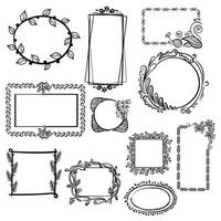 Hand Drawn Floral Frames vector