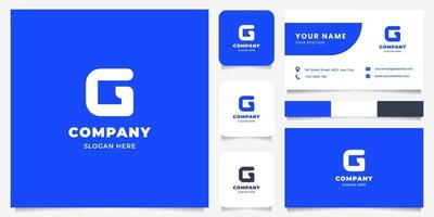 Simple and Minimalist Bold Line Letter G Logo with Business Card Template vector