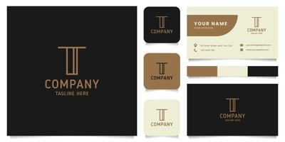 Simple and Minimalist Gold Line Art Letter T Logo with Business Card Template vector