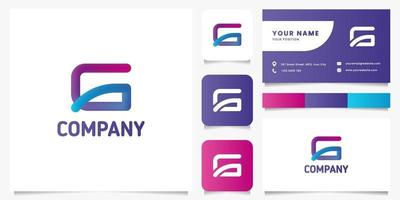 Colorful Rounded Letter G Logo with Business Card Template vector
