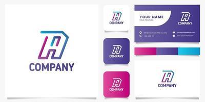 Colorido degradado línea 3d letra a logotipo con plantilla de tarjeta de visita vector