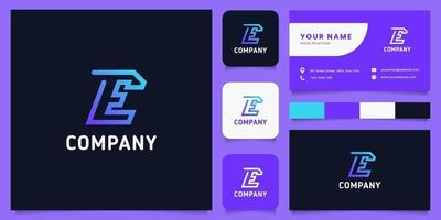 Colorful and Gradient Line Letter E Logo with Business Card Template vector