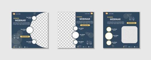 collection webinar social media post template. Banner promotion vector