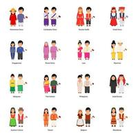 Male and Female Avatars Wearing National Dresses Around the World vector