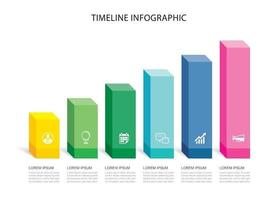 6 data infographics rectangle step growth success template design. Illustration abstract background. vector