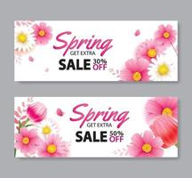 Spring sale cover banner with blooming flowers background template. Design for advertising, flyers, posters, brochure, invitation, voucher discount. vector