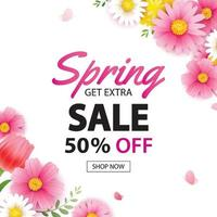 Spring sale square banner with blooming flowers background template. Design for advertising, flyers, posters, brochure, invitation, voucher discount. vector