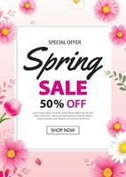 Spring sale poster banner with blooming flowers background template. Design for advertising, voucher, flyers, brochure, cover discount. vector
