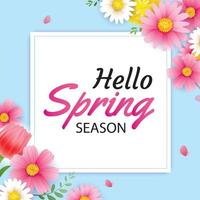 Hello spring greeting card and invitation with blooming flowers background template. Design for decor, flyers, posters, brochure, banner. vector