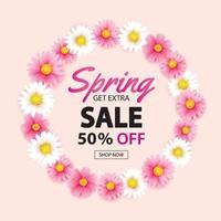 Banner de corona de círculo de venta de primavera con plantilla de fondo de flores florecientes. diseño para publicidad, volantes, carteles, folletos, invitaciones, cupones de descuento.