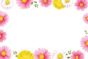Hola marco de temporada de primavera con plantilla de fondo de flores florecientes. diseño de banner, volantes, carteles, folletos, invitaciones. vector