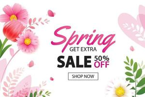 Spring sale banner with blooming flowers background template. Design for advertising, flyers, posters, brochure, invitation, voucher discount. vector