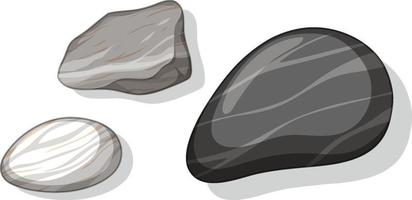 Set of different stones isolated on white background vector