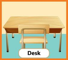 Educational English word card of Desk vector