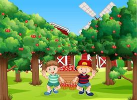 Farm scene with farmer boy cartoon character vector
