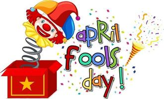 April Fool's Day font logo with Jester from surprise box vector