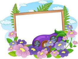 Empty banner with fantasy eggplant house and many flowers vector