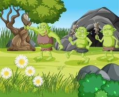 Outdoor scene with goblin or troll cartoon character vector