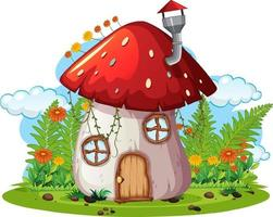 Fantasy mushroom house isolated on white background vector