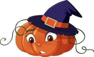 Cute pumpkin cartoon character with confused face expression on white background vector