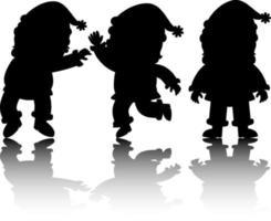 conjunto, de, santa claus, caricatura, carácter, silueta, con, reflejo vector