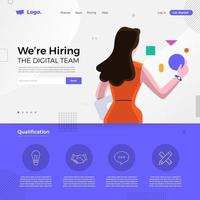 Digital Team We're Hiring Notice vector