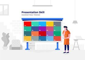 Business presentation on a whiteboard vector