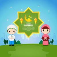 Greeting card Ramadan with cartoon muslim cartoon vector