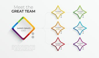 Colorful Organizational team chart Infographic. vector