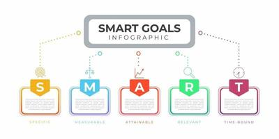 Colorful Modern smart goals infographic set vector