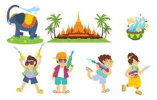 Songkran Sticker Festival  Concept vector