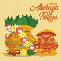feliz akshaya tritiya con fondo amarillo vector