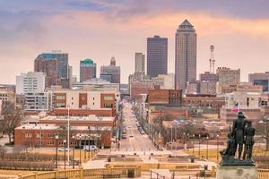 Des Moines Iowa skyline in USA