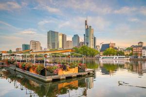 View of Frankfurt city skyline, Germany with blue sky