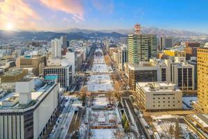 Sapporo city downtown skyline cityscape of Japan sunset