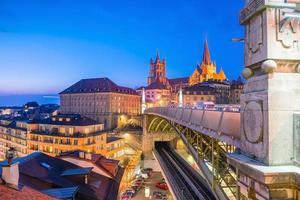 Downtown Lausanne city skyline in Switzerland