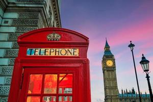 Red phone booth and Big Ben photo