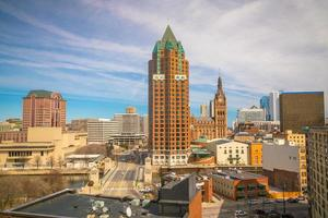 Downtown skyline with Buildings in Milwaukee USA photo