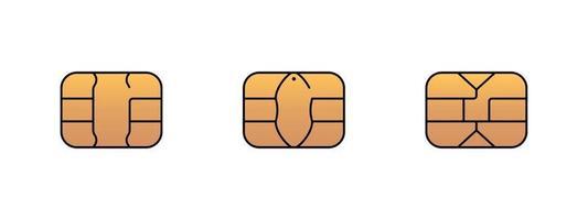 icono de chip de oro emv para tarjeta de débito o crédito de plástico bancario. conjunto de ilustración de símbolo de vector