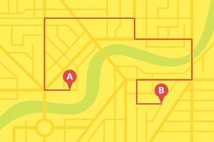 Plano de mapa de calles de la ciudad con pines gps y rutas de navegación desde marcadores de puntos a a b. esquema de ilustración de eps de color amarillo vectorial vector