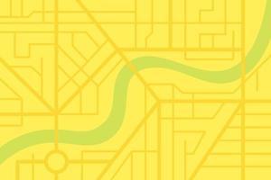 Plano de mapa de calles de la ciudad con río. Vector de color amarillo ciudad eps esquema de ilustración