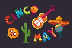 celebración del cinco de mayo en méxico. 5 de mayo, feriado en américa latina. colorido, detallado, muchos objetos de fondo. plantilla de vector con símbolos tradicionales mexicanos calavera, guitarra, flores, pimiento rojo