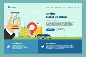 Hotel online booking service for vacation tourism landing page template. Travel apartment transport reservation web design. Motel suitcase and location pin and hand holding smartphone eps illustration vector