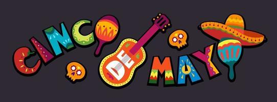 Cinco de Mayo celebration in Mexico. May 5, Latin America holiday. Colorful, detailed, lots of objects background. Vector template with traditional Mexican symbols skull, guitar, flowers, red pepper