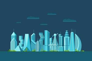 Detailed night future city with different architecture buildings skyscrapers apartments. Futuristic multi-storey cyberpunk graphic cityscape town. Vector real estate urban construction illustration
